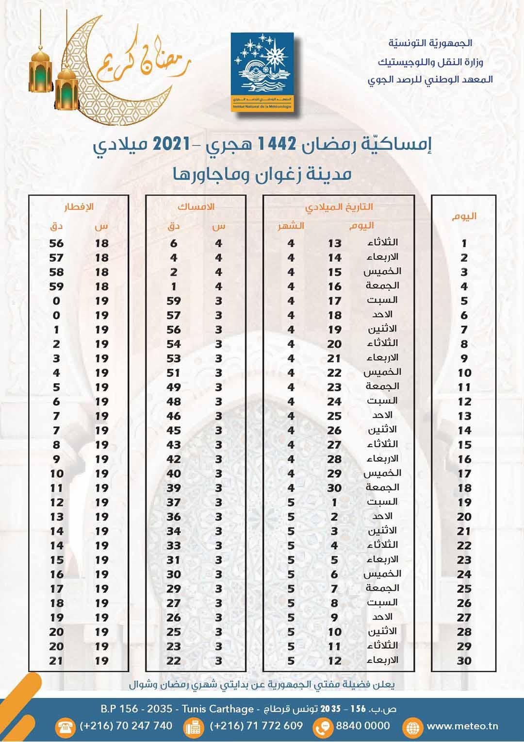 مواعيد الافطار و السحور في ولاية زغوان رمضان 2021 1 - هام: مواعيد الافطار والامساك لشهر رمضان حسب الولايات..