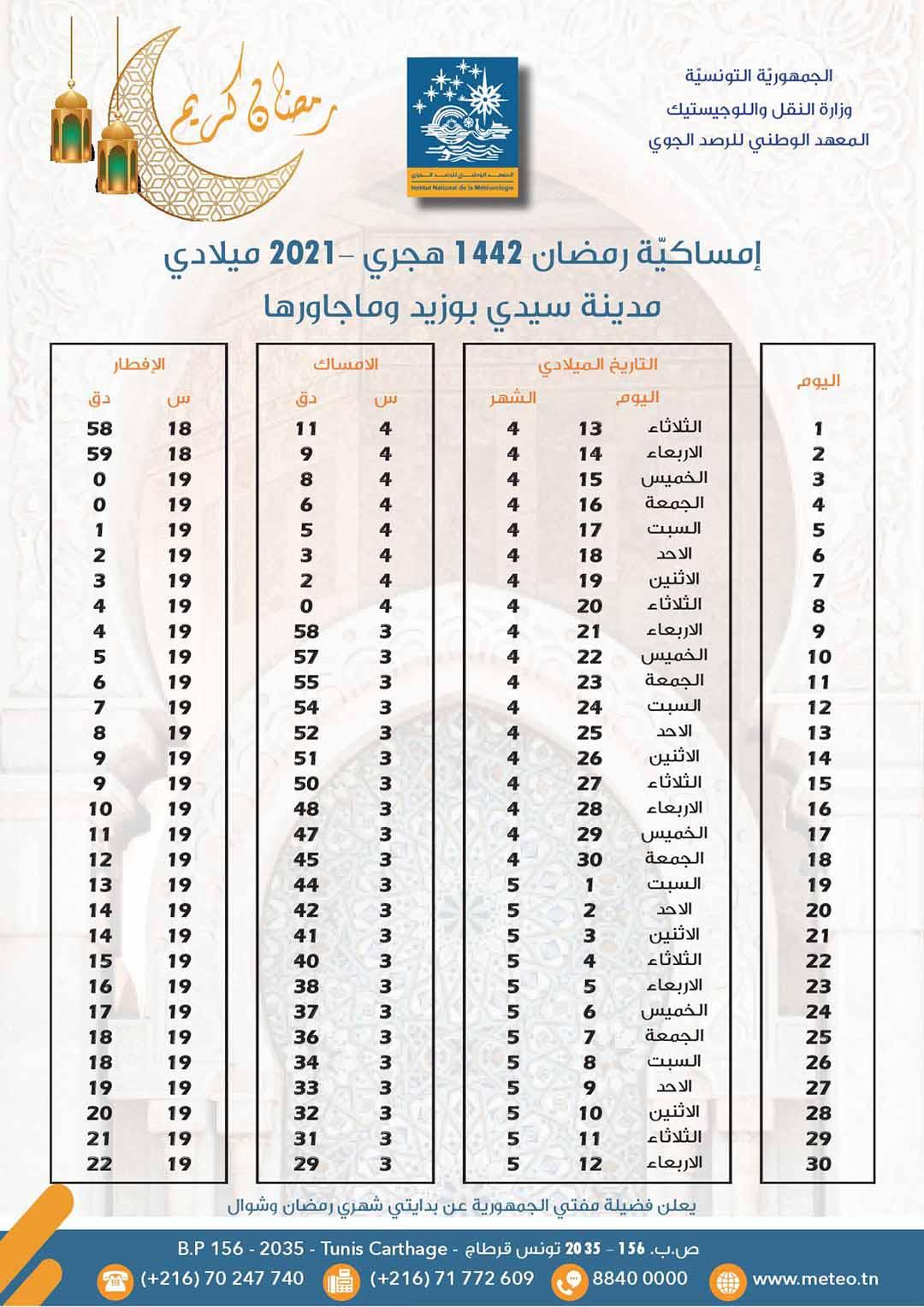 مواعيد الافطار و السحور في ولاية سيدي بوزيد رمضان 2021 1 - هام: مواعيد الافطار والامساك لشهر رمضان حسب الولايات..