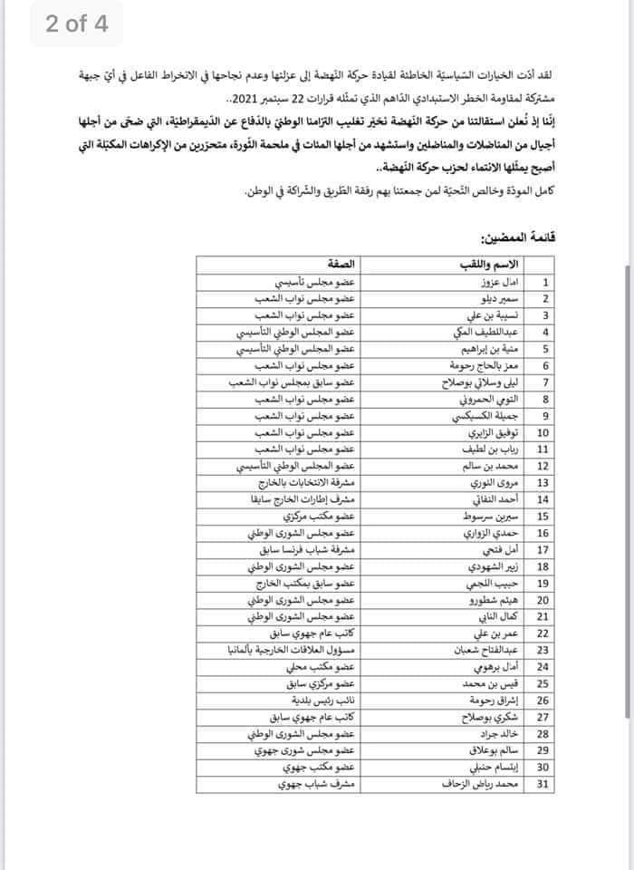 FB IMG 1632558263357 - عاجل: إستقالة أكثر من 100 قيادي من حركة النهضة.. (قائمة الأسماء)